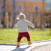 Toddler boy walking at the spring day — Стоковое фото