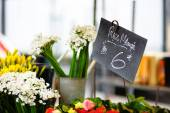 Cut flowers sold on outdoor flower — Stock Photo