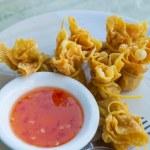 Wonton Oriental deep fried wontons filled — Stock Photo #53434761