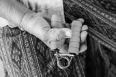Senior asian woman exercise sport hand grip equipment — Stock Photo