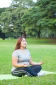 Plus size woman practicing yoga — Stock Photo