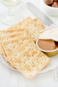 Toasts with pate on plate — Stockfoto