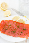 Salted salmon on plate — Stock Photo