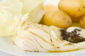 Codfish with potato and cabbage — Stock Photo