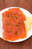 Salted salmon on plate — Stok fotoğraf