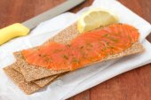 Salted salmon with toast — Stok fotoğraf