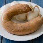 Smoked sausage with mushrooms — Stock Photo #73920053