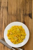 Rice with meat and carrot on plate — Stock Photo