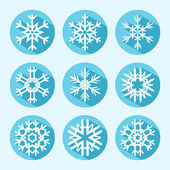 Flat Snowflake Icons — Stock Vector