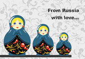Russian Dolls Banner — Stock Vector