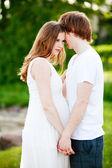 Pregnant woman and her boyfriend — Stock Photo