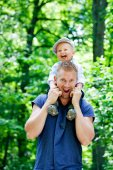 Father in park with son — Stock Photo