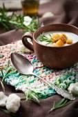 Creamy cauliflower soup — Stock Photo