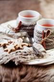 Wine with gingerbread cookies — Stock Photo