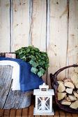Towel, soap and vihta — Stock Photo