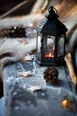 Porch decorated with lantern — Stock Photo