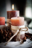 Candles with birch decorations — Stock Photo