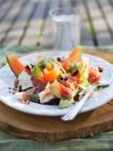Antaloupe salad with mozzarella — Stock Photo