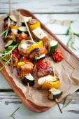 Skewers with halloumi, meat — Stock Photo