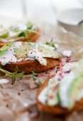 Toasts with cream cheese — Stock Photo