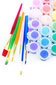 Paints and brushes School supplies — Stok fotoğraf