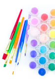 Paints and brushes School supplies — Fotografia Stock
