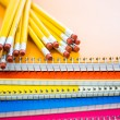 Pencils on note books School supplies — Stock Photo #52330235