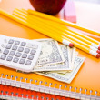 Notebooks, pencils, calculator, cash and apple School supplies — Stock Photo #52330631