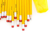 Pencils and sharpener, School supplies — Stock Photo