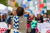 Flag trowing performance at annual Italian Festival — Photo