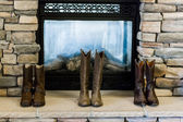 Cowboy boots of wedding party — Stock Photo