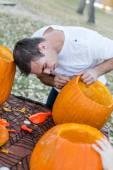 Pumpkin carving — Stock Photo