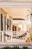 House porch decorated for Halloween — Stock Photo