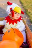 Little boy in costume at Halloween night — Stockfoto