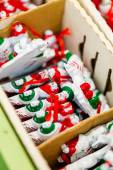 Christmas decorations in boxes — Stock Photo