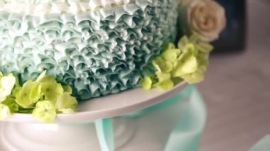 Beautifully decorated wedding cake — Stock Video