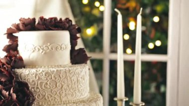 Gourmet tiered wedding cake — Stock Video
