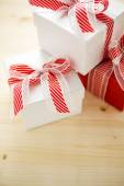 Red and white Chtistmas gifts — Stock Photo