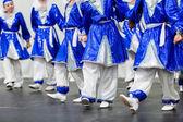 Kids dancing tradition Russian folk dances — Stock Photo