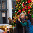 Mature couple getting photographed at Christmas tree — Stock Photo #58845589