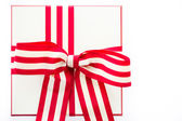 Box with red and white ribbon — ストック写真