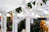 Front porch decorated with snowflakes — Stock Photo