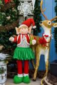 Christmas decor, elf and deer — Foto de Stock