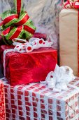 Large wrapped Christmas presents — Stock Photo