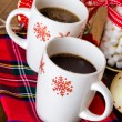 Hot chocolate with red snow flakes — Stockfoto #59897169