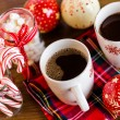 Hot chocolate with red snow flakes — Stockfoto #59897575