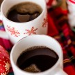 Hot chocolate with red snow flakes — Stok fotoğraf #59897579