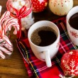 Hot chocolate with red snow flakes — Stok fotoğraf #59897735