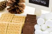 Smores station with large white marshmallows — Stock Photo