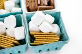 Smores station with large white marshmallows — Stock Photo